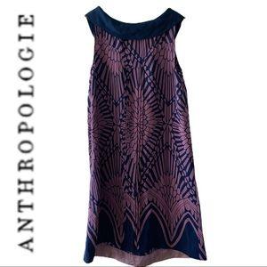 Anthropologie Shift Dress Purple XS Silk Like New
